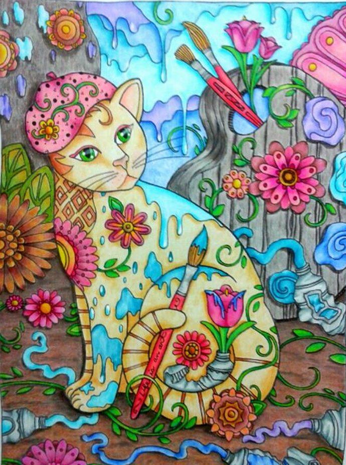 Кототерапия в раскрасках рис 8