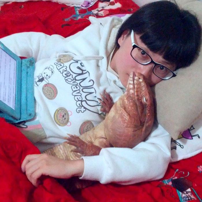 Я симпатичная! Улыбчивая ящерица размером с мейн-куна любит всех подряд :) рис 9