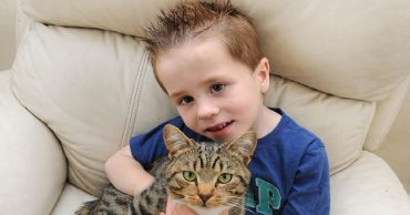 Ethan and his brave cat